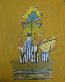 Acrylic on board painting of still life, household objects, on ochre background with blue accents