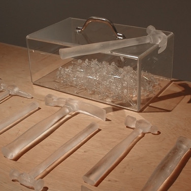 "Nobuho Nagsawa Clear Tooling, 2004 cast, crystal, pyrex, wood  From ""Recent Visions,"" University Art Gallery, Staller Center for the Arts, Stony Brook University, New York, 2004"