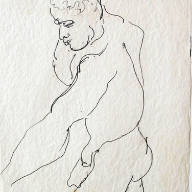 James Juthstrom [1925-2007] Untitled, circa 1950s ink on artist paper 11 x 8.5 inches