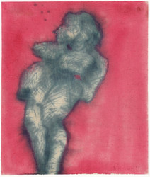 Boris Lurie (1924-2008) Dismembered Women: Model, c.1957  ink on canvas  13.75 x 9.75 inches