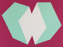 Print of two interconnected rectangular prisms, light green and white, on burgundy background
