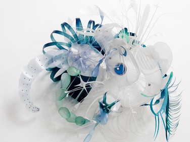 AURORA ROBSON  Marina Gasolina, 2014  plastic debris (PET), aluminum rivets,  tinted polycrylic, mica powder  19 x 20 x 9 inches