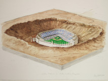 Watercolor and pencil drawing of Yankee Stadium in a meteor crater in Arizona