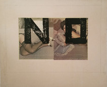 Boris Lurie (1924-2008)  NO on Reversed Pinups, 1971-72  paint, paper collage, and graphite on paper, mounted on canvas  22.5 x 26 inches