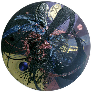 James Hendricks  Vector acrylic and polychromatic pigments on shaped canvas,  61 inches diameter