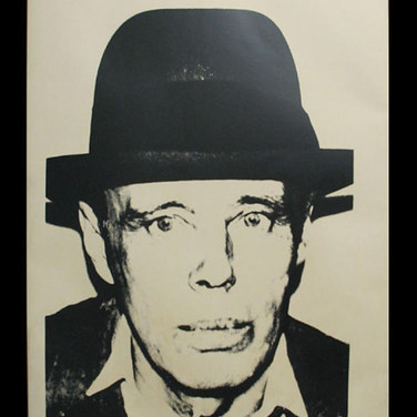 Andy Warhol Joseph Beuys, circa 1980-85 Unique screenprint on newsprint paper on linen front lower right stamp © ANDY WARHOL authenticated by AWAAB 47.5 x 35 inches