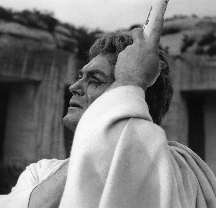 Lucien Clergue [1934-2014] Jean Marais as Oedipus, Testament of Orpheus, Les Baux de Provence photo 1959 [printed 1981] gelatin silver print, edition of 30 PF, signed Paper Size: 15 x 11.25 inches | 38.1 x 28.6 cm Image Size: 12 x 11 inches | 30.5 x 27.9 cm