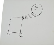 Untitled (Cart 2), circa 1950s ink on paper 8.25 x 6.875 inches