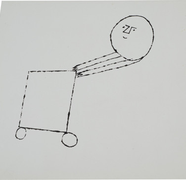 Untitled (Cart 2), 1955-67 ink on paper 8.25 x 6.875 inches
