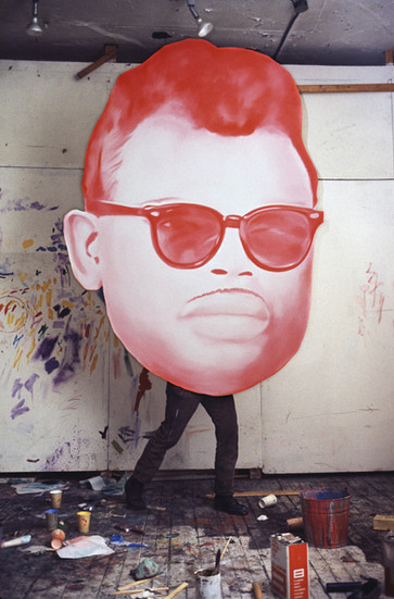 """BOB ADELMAN (1930-2016) James Rosenquist in his studio with the painting, """"Big Bo"""" (1966)  photograph 1981 [printed later] archival pigment print, 1/20, signed  Paper Size: 18.75 x 12.5 inches 