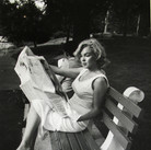SAM SHAW [1912-1999]  Marilyn Monroe in Central Park, New York City  photo 1956 [printed later]  gelatin silver print, AP, stamped by the Estate paper size > 19.5 x 14.75 inches