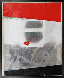 Boris Lurie (1924-2008) Altered Photos (Cabot Lodge), 1963  paint on paper mounted on canvas  29.25 x 24 inches