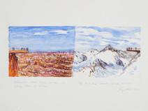 Watercolor and pencil drawing of two mountainous overlooks in Arizona and Austria as if they were connected
