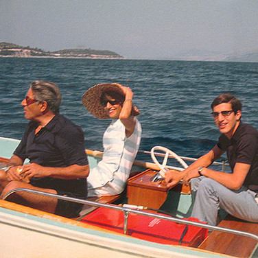 """Princess Marianne Sayn-Wittgenstein-Sayn  Aristotle Onassis, his sister and his son Alexander, Skorpios Island. Cruise on the Theo Rossi' yacht """"Tritona"""" along the Dalmatian coast.  photo September 1966[printed later]  Lambda print on Fuji Crystal paper, edition of 10, signed, 22 x 22 inches"""