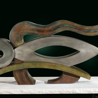 Jeff Maron  Shakyamuni's Repose, 2001  unique etched copper alloy with polychrome oxides,  57 x 31 x 16 inches