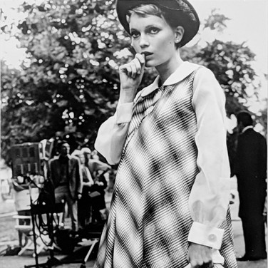 """Photograph by Hatami (1928-2017) Mia Farrow near Central Park, New York City, on the set of """"Rosemary's Baby"""" photograph 1968 vintage gelatin silver print, signed, inscribed 11 x 7 inches"""