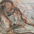 James Juthstrom (1925-2007)  Untitled (reclining nude), circa 1950s  charcoal, sanguine on paper, 17 x 22 inches