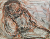 Charcoal and sanguine drawing of a nude