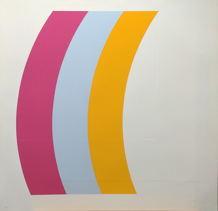 CHARLES HINMAN Curves Left, 1970  silkscreen on embossed paper, edition of 90, signed Paper Size: 26 x 26 inches | 66.0 x 66.0 cm Unframed