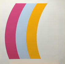 Print of a curve section made from 3 color strips, yellow, pink, orange
