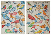 """Two screenprints of colorful bird illustrations with text """"Happy Flyaway Days"""""""