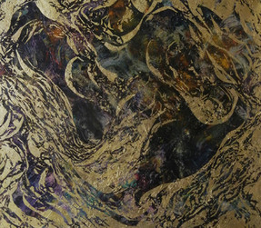 Horizontal rectangular painting with waves and swirls of dark purple and gold