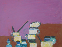 Acrylic on board painting of still life, books and bottles on a pink background
