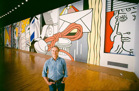 BOB ADELMAN (1930-2016) Roy Lichtenstein in front of the Greene Street Mural, Leo Castelli Gallery (overall)  photograph 1983 [printed later] C-print, AP, signed  Paper Size: 20 x 19 inches | 50.8 x 48.3 cm