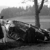 Princess Marianne Sayn-Wittgenstein-Sayn Near Laasphe. Car accident after the baptism of Albrecht Sayn-Wittgenstein. Ludwig Sayn-Wittgenstein, Beatrix Sayn-Wittgenstein, Hella of Bavaria, Klementine Croÿ photo 1956 [printed later] Lambda print on Fuji Crystal paper, edition of 10, signed 22 x 22 inches