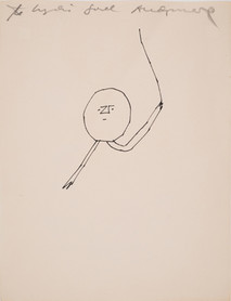 Untitled (Conducting), circa 1950s ink on paper signed and dedicated to Lydia Joel 11 x 8.5 inches