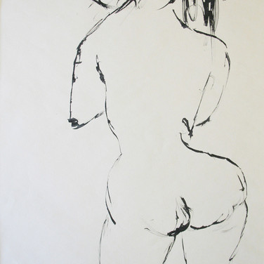 James Juthstrom (1925-2007)  Untitled (Nude), circa 1950s  Ink on paper, 24 x 18 inches