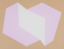 Print of two interconnected rectangular prisms, pink and white, on beige background