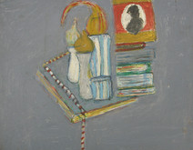 Acrylic on board painting of still life, green book, household objects, on gray background