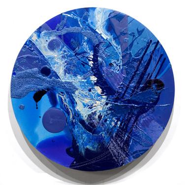 James Hendricks  Celeste  acrylic, acrylic gels on shaped canvas,  36 inches diameter