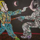 Carmen Cicero Race 1972-4, 2018 acrylic on canvas 76 x 102 inches
