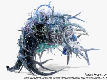 AURORA ROBSON  Jetsam, 2015  plastic, debris, HDPE, LLDPE, PET,  aluminum rivets, washers, tinted  polycrylic, mica powder  7 x 7 x 5 feet