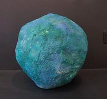 "Spherical blue-green papier-mache sculpture, ""Untitled,"" circa 1980s"