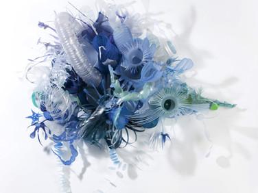 AURORA ROBSON  Fermi, 2012  plastic debris (PET), aluminum rivets, tinted polycrylic, mica powder  30 x 19 x 12 inches