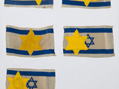 Boris Lurie (1924-2008)  Altered Israeli Flags with Star of David, 1974  oil paint on cloth flags mounted on foamboard  40.25 x 30 inches