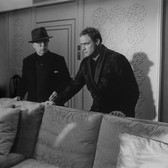 """Photograph by Hatami (1928-2017) Marlon Brando and Charlie Chaplin rehearsing a scene on the set of """"A Countess from Hong Kong,"""" Pinewood Studios, Buckinghamshire photograph 1966 vintage gelatin silver print 9.5 x 14.5 inches"""
