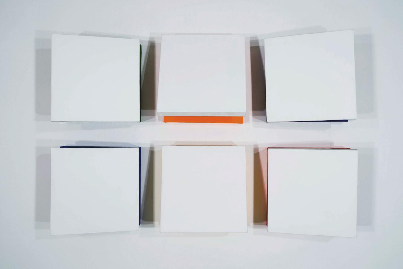 CHARLES HINMAN Eclipse, 2010 acrylic on six shaped canvas Artwork: 16 x 16 x 9 inches | 40.6 x 40.6 x 22.9 cm each