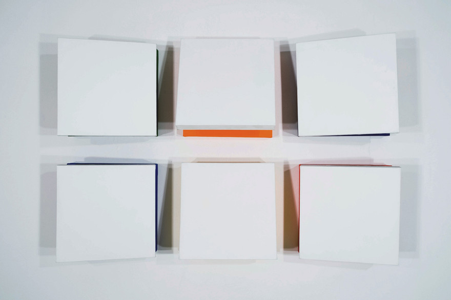 CHARLES HINMAN Eclipse, 2010 acrylic on six shaped canvas Artwork: 16 x 16 x 9 inches | 40.6 x 40.6 x 22.9 cm each