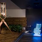 "Nobuho Nagasawa Bodywaves, 2007 optical fiber, steel, plastic chord, illuminator, sound, hourglass, petri dish, umbilical cord, gray hair  From ""Sentenial Event, Making a Home: Japanese Contemporary Artists in New York,"" Japan Society, New York, New York, 2007"