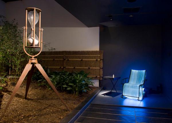 "NOBUHO NAGASAWA Bodywaves (2007) optical fiber, steel, plastic chord, illuminator, sound, hourglass, petri dish, umbilical cord, gray hair  Installation from ""Sentenial Event, Making a Home: Japanese Contemporary Artists in New York"" at Japan Society, New York, New York, 2007."
