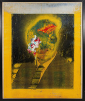 Painting of male bust portrait in suit and tie with face scratched over, yellow background