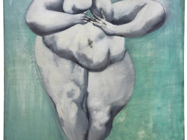 Boris Lurie (1924-2008)  Dismembered Woman: Nude, Stepping, c.1955  oil paint on cotton twill fabric  61 x 47 inches