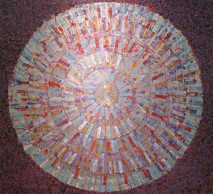 Violet abstract acrylic on canvas painting of red, violet, blue concentric circles, created from brush patterns