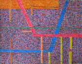 Gel ink drawing of red, blue, yellow, orange lines on a detailed violet background