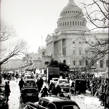 Jacques Lowe (1930-2001)  Presidential Motorcade, Washington DC  photo January 20, 1961 [printed later]  gelatin silver print, signed  paper size > 20 x 16 inches
