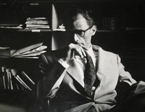 Arthur Miller backstage at Circle in the Square in New York City, 1953